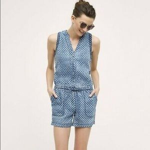 Anthropologie hei hei polka dot chambray romper